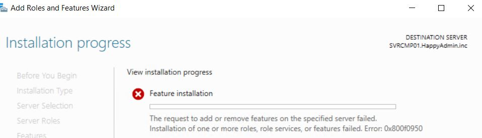 Installing  NET Framework 3 5 on Server 2019 fails - System